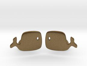 Whale Cufflinks in Natural Bronze