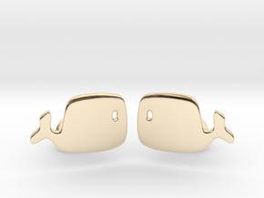 Whale Cufflinks in 14k Gold Plated Brass