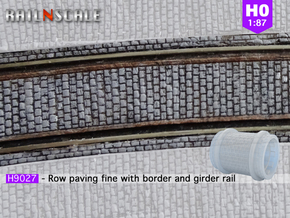 Row paving fine w/ border and girder rail (H0) in Smooth Fine Detail Plastic