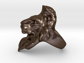 Lion Ring 15.72mm (size 5) in Polished Bronze Steel
