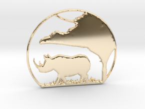 Rhino Pendant in 14K Yellow Gold