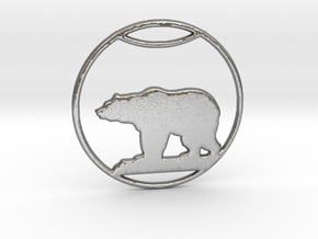Polar Bear Pendant in Natural Silver: Large