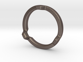 HEX 3 Ring - Slim edition in Polished Bronzed Silver Steel: 4 / 46.5