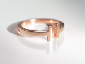 T RING in 14k Rose Gold Plated Brass