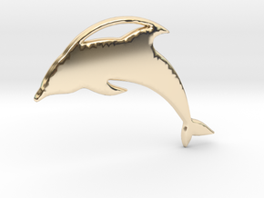 The Dolphin Necklace in 14k Gold Plated Brass