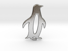 Minimalist Penguin Pendant in Natural Silver: Large