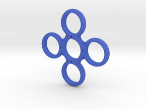 Four Sided Fidget Spinner in Blue Processed Versatile Plastic