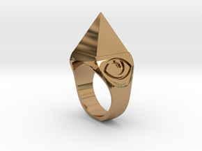 Mystical Pyramid Ring in Polished Brass