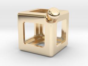 FidgetKeyCube Rev1 in 14k Gold Plated Brass