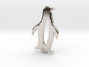 The Penguin Pendant in Rhodium Plated Brass: Small