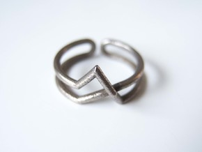 Continuous Geometric Ring  in Polished Bronzed Silver Steel: 6 / 51.5