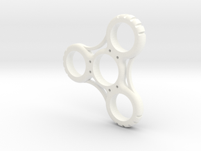 Penny Fidget Spinner in White Strong & Flexible Polished