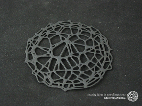4er Drink Coaster Set - Voronoi #9 (Thin) in Black Natural Versatile Plastic