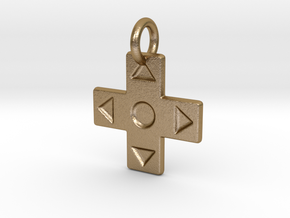 D-Pad Pendant in Polished Gold Steel