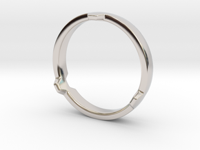 Hex 3 Ring - FAT edition in Rhodium Plated Brass: 12 / 66.5