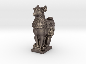 Griffin mini Statue in Polished Bronzed Silver Steel: Small