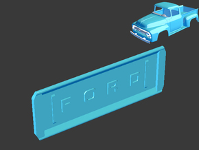 1956 Ford Pickup Tail Gate 1/8 in White Natural Versatile Plastic