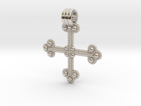 Twisted Wire Cross Pendant in Rhodium Plated Brass