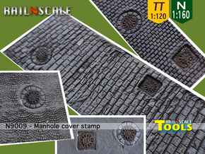 Manhole cover stamp (N 1:160 - TT 1:120) in Smooth Fine Detail Plastic
