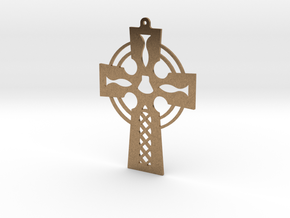 Cross Cut Out Style with Shell in Natural Brass
