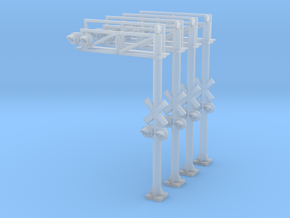 N Scale Crossing Gantry 1 Lane 4pc LED in Smooth Fine Detail Plastic