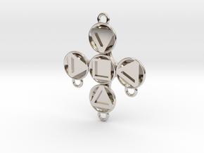 """Pendant """"Theodor"""" in Rhodium Plated Brass: Medium"""