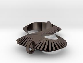 Modern Heart Earrings in Polished Bronzed Silver Steel