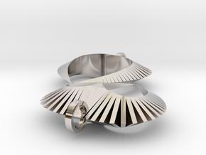 Modern Heart Earrings in Platinum