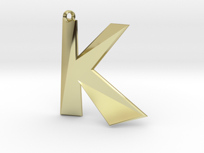 Distorted letter K in 18k Gold Plated Brass