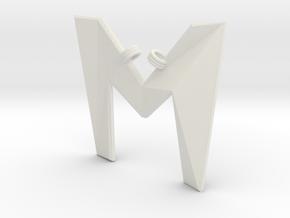 Distorted letter M in White Natural Versatile Plastic