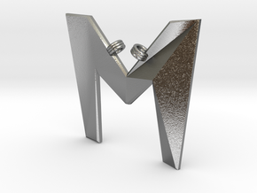 Distorted letter M in Natural Silver