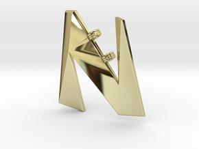 Distorted letter N in 18k Gold Plated Brass