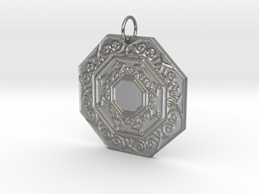 Ornate Octagon Pendant in Natural Silver