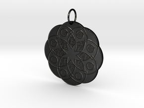 Rose Window Pendant in Matte Black Steel