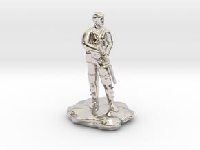 Human  Ranger with Katana in Rhodium Plated Brass
