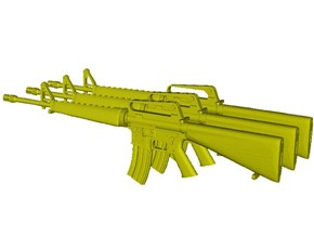1/15 scale Colt M-16A1 rifles x 3 in Smooth Fine Detail Plastic