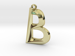 Distorted letter B in 18k Gold Plated Brass