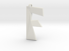 Distorted letter F in White Natural Versatile Plastic
