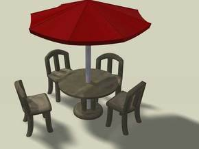 Sidewalk Cafe Set, HO Scale (1:87) in White Natural Versatile Plastic