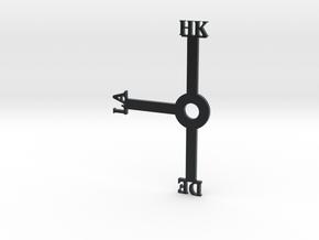 Hong Kong Clock (Honk Klonk) (For Daylight Savings in Black Hi-Def Acrylate