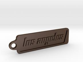Los Angeles, California Keychain in Polished Bronze Steel