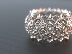 Thorn Flower Ring  in Polished Silver