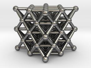 64 Tetrahedron Grid - Isotropic Vector Matrix in Polished Silver