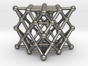 64 Tetrahedron Grid - Surface in Polished Silver