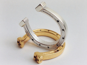Lucky Horseshoe Ring  in Polished Silver