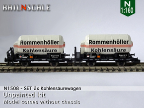 SET 2x Kohlensäurewagen (N 1:160) in Smooth Fine Detail Plastic