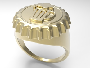 Beer Cap Ring G in 18k Gold Plated Brass: 10 / 61.5