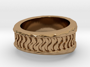 Wave Ring S B in Polished Brass: 3 / 44