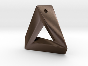 Impossible Triangle Pendant in Polished Bronze Steel: Large
