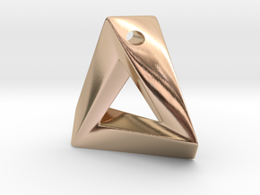 Impossible Triangle Pendant in 14k Rose Gold Plated Brass: Small